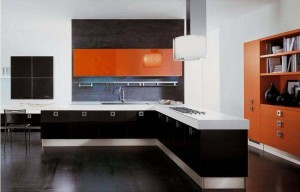 Interior of the kitchen in Japanese style is close to minimalism